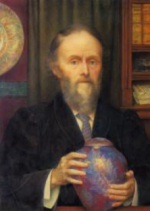 Portrait of William De Morgan holding lustre vase